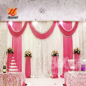 Image 3 - The  Cheap Wholesale Ice Silk Sequin Cloth Drapery Wedding Background