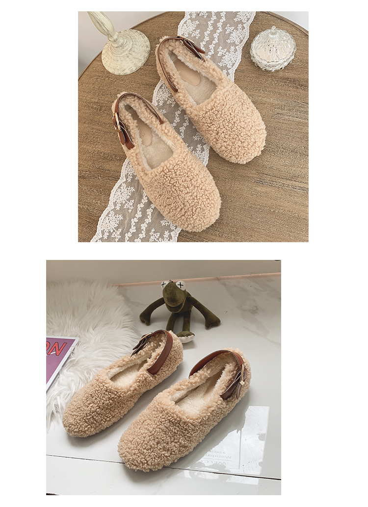 SLHJC Round Toe Loafers Flat Heel Slip On Women Autumn Flats Shoes Curly Fur Warm Female Drive Shoes 29
