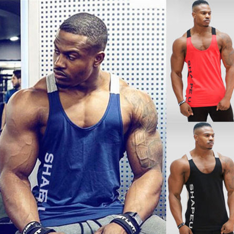 Solid Gym Men Stringer Tank Top Bodybuilding Fitness Singlets Muscle Vest Tees Sport Clothing