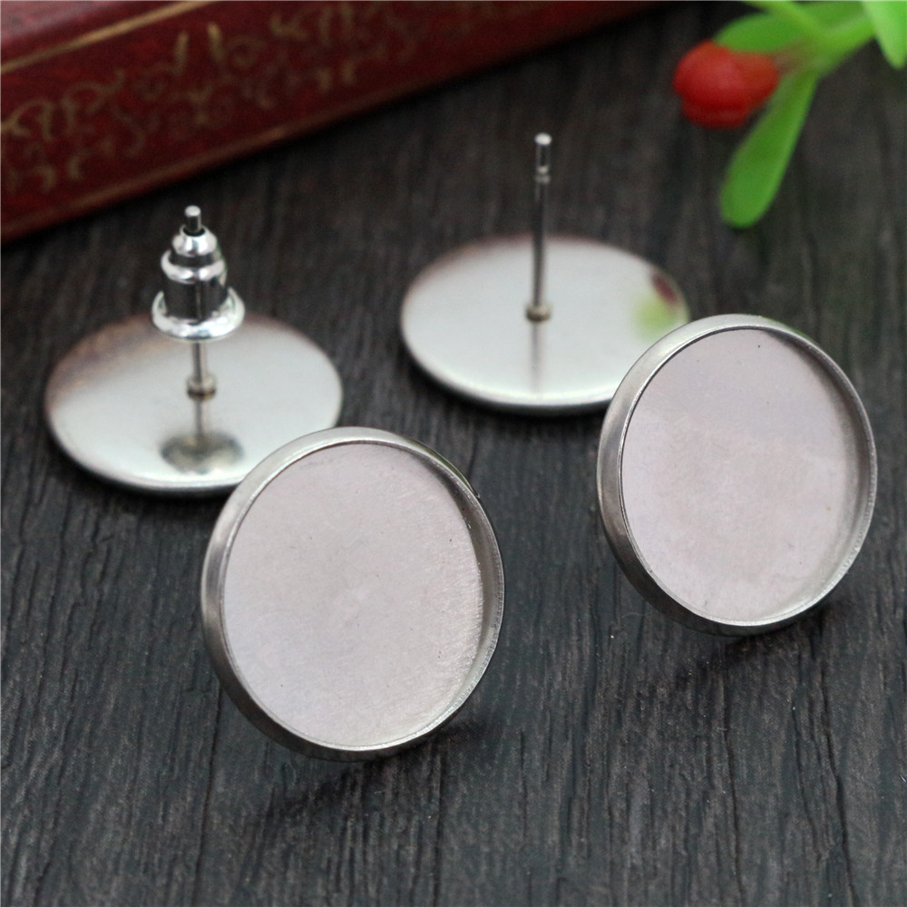 ( No Fade ) 14mm 20pcs/lots Stainless Steel Earring Studs,Earrings Blank/Base,Fit 14mm Glass Cabochons,Buttons-M4-08