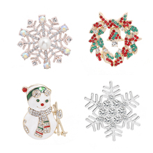 Christmas Theme Shape Pin New Alloy Variety Fashion Trend Backpack Hat Neutral Snowman Snowflake Brooch Jewelry Gift