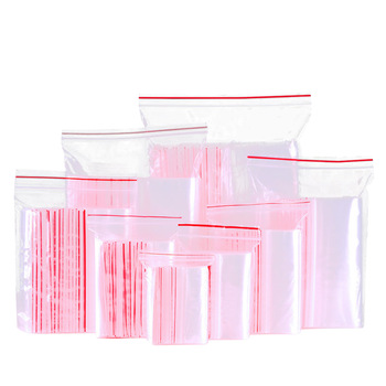 100Pcs/Pack Zip Lock Plastic Bags Clear Food Beans Storage Package Vacuum Packing Small Jewelry Storage Bag Reclosable Zip Bags image