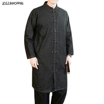 Men Long Style Denim Jacket Mandarin Collar Frog Closure Single Breasted Mens Jean Jackets Black / Light Blue Man Denim Coat