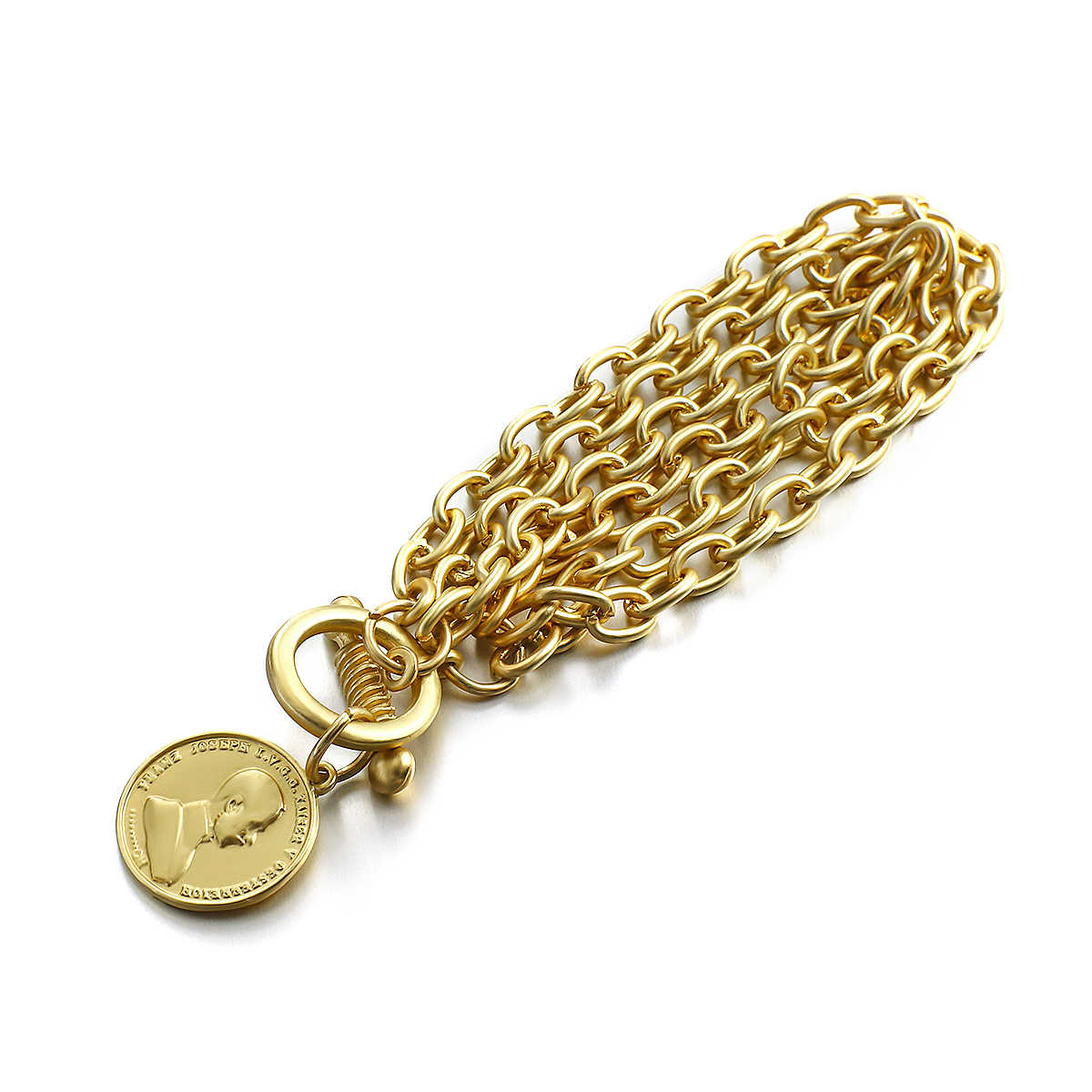 Lanterbuy pulseira unissex, bracelete de liga de aço inoxidável dourado 2020