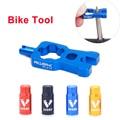 Риска 4 в 1 велосипедный ключ сердечника клапана с 2 или однотрубки Шапки Набор дорожный Велосипедные клапаны Установка удаления Портативны...