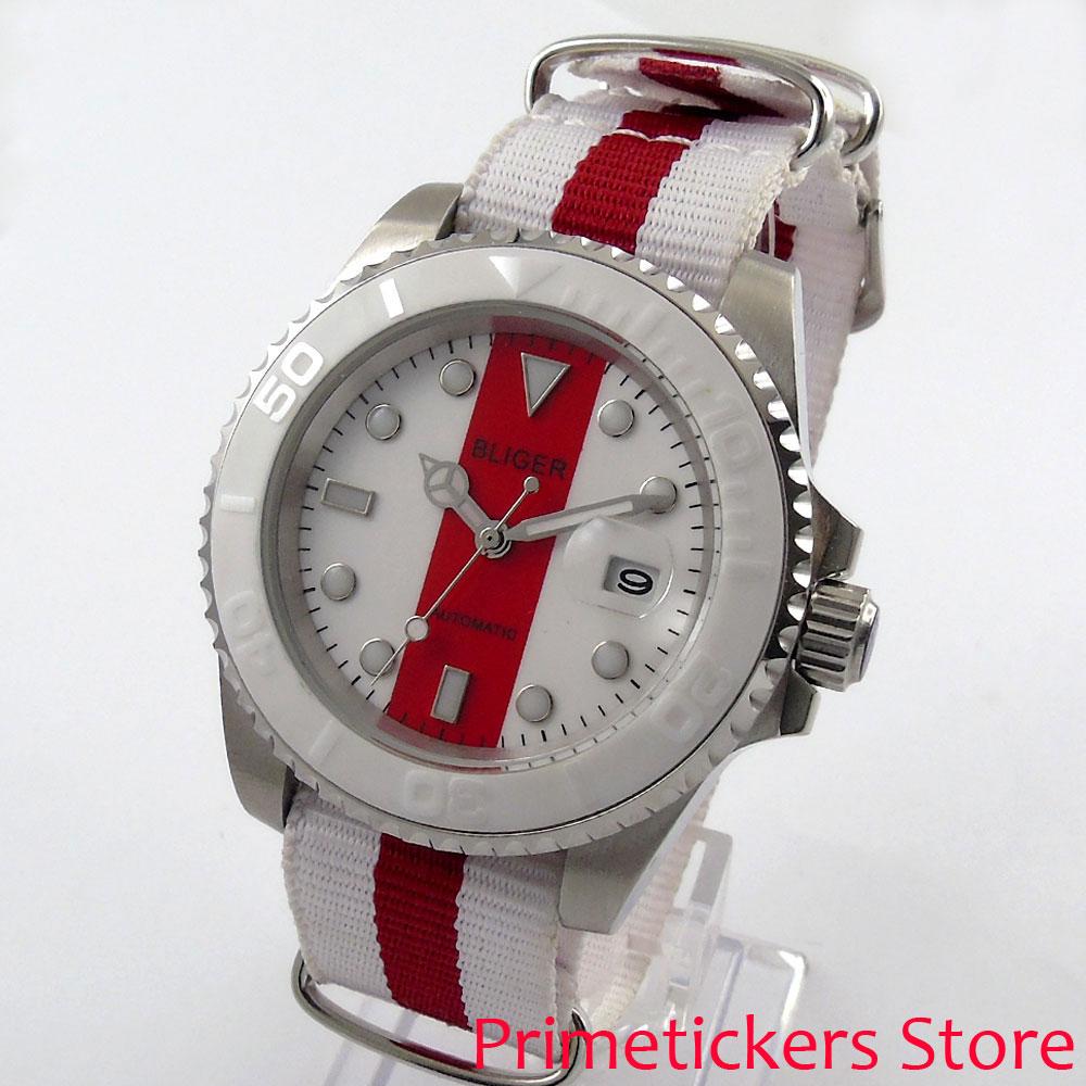40mm Bliger sapphire crystal luminous date nylon strap automatic movement men's watch