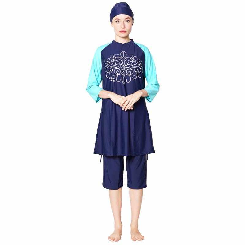 Shehang النساء Burkinis بحر كامل غطاء الحجاب السباحة متواضع المايوه ملابس سباحة حريمي الإسلامية ملابس سباحة إسلامية