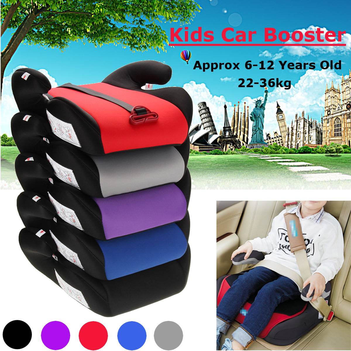 Car Booster Seat Safe Sturdy Kids Children Child Baby Increased Seat Pad Fits 6-12 Years Multi-color Car Non-slip Booster Seat