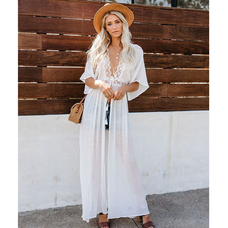 Crochet White Knitted Beach Cover up dress Tunic Long Pareos Bikinis Cover ups Swim Cover up Robe Plage Beachwear 29