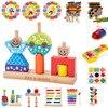 Деревянные игрушки для детей, солнце, луна, день и ночь, колонна, конструктор для раннего обучения, детский подарок на день рождения, Рождест...