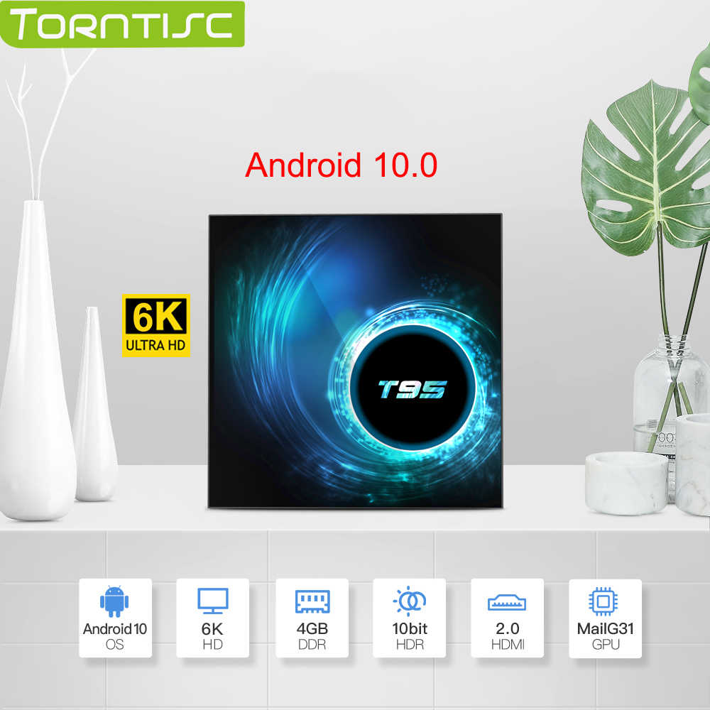 Torntisc 2020 nova caixa de tv t95 android 10.0 netflix youtube hd 6 k quad core caixa de tv android caixa de tv inteligente