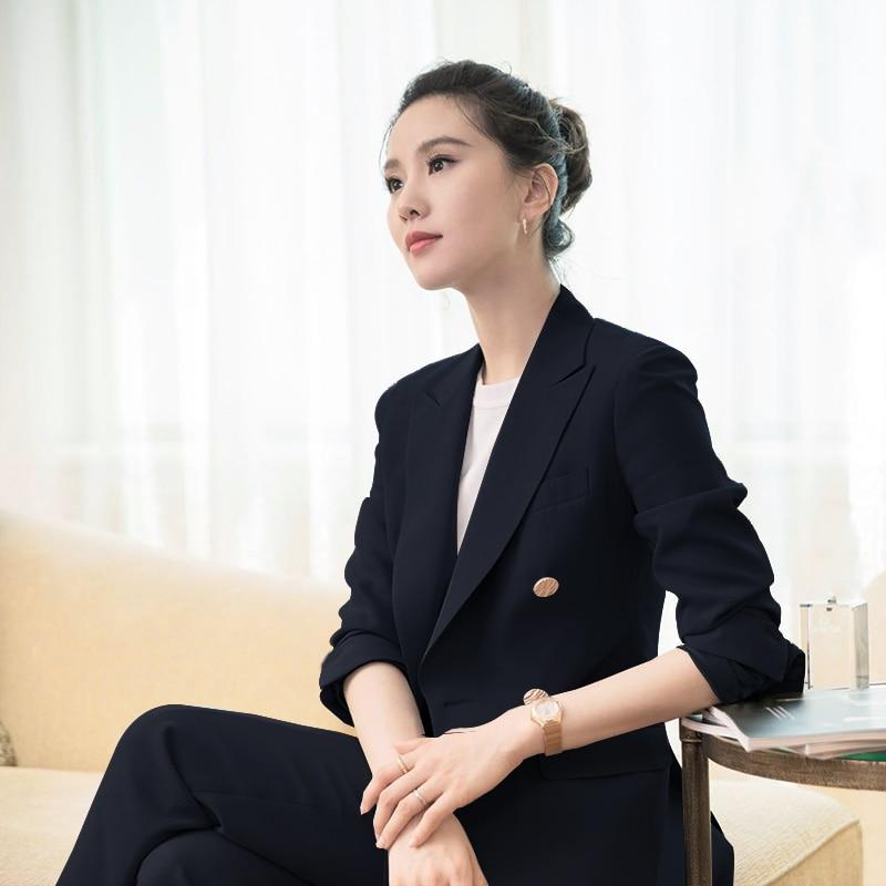 Elegant Office Work Wear Pant Suits Solid Blazer 2 Piece Sets Jacket & Trousers Suit For Women Set Femme ka1090