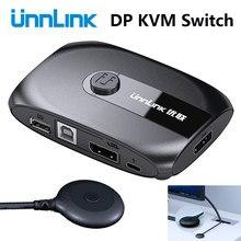 Unnlink 2 portas dp kvm switch displayport com extensor 4k60 usb share monitor impressora teclado mouse para computadores de 2 computadores portáteis