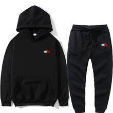Nova marca casual conjuntos de treino dos homens hoodies + calças dois conjuntos peças impressão com capuz moletom roupas esportivas masculino terno