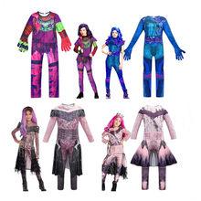 Descrents3 macacões roxo meninas roupas mal manga longa macacão cosplay desempenho traje com luvas meninas conjunto cosplay