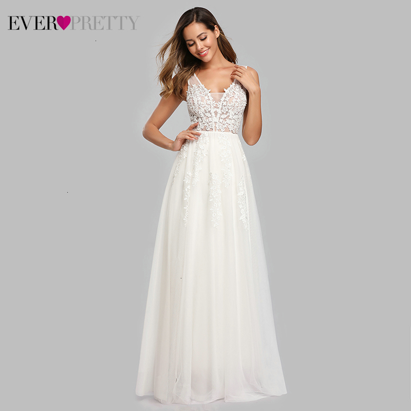Illusion Wedding Dresses Ever Pretty Appliques A-Line Double V-Neck Sleeveless Sexy Beach Style Formal Bride Gowns Trouwjurk