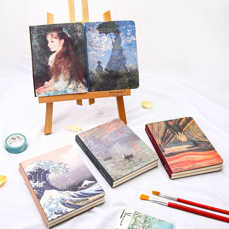 Master Painting Series Creative Monet Van Gogh Art Literary Hand Notebook Van Gogh Monthly Planner Agenda Organizer Cute Travel