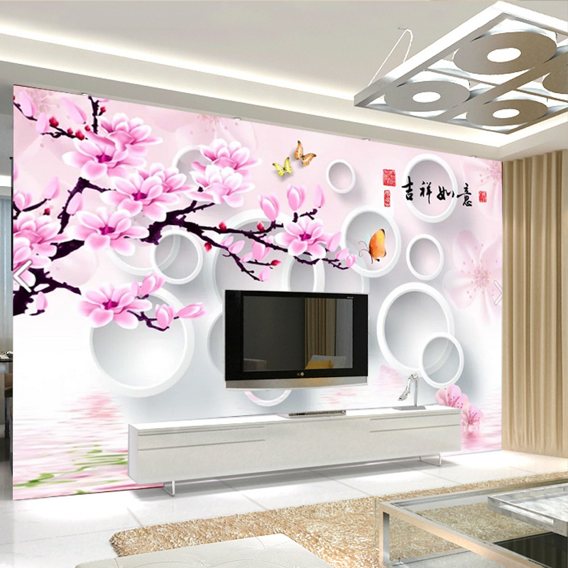Large Mural Seamless Non-woven Wallpaper Living Room Television Background Wall TV Wall Mural Good Luck
