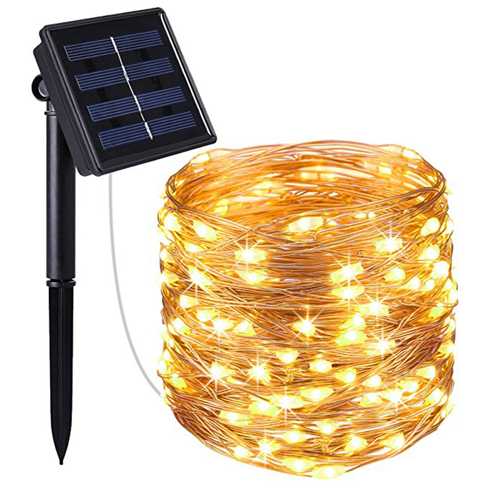 5M 10M 20M Solar Power Outdoor Light LED Garden String Lights Fairy Copper Wire LED Strip Decorative Holiday Wedding Xmas Party