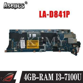 LA-D841P Laptop motherboard for Dell XPS-13 9350 original mainboard 4GB-RAM I3-7100U