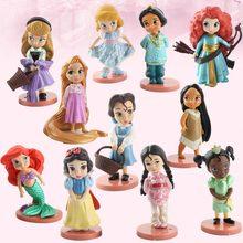 Disney 11 pçs moana neve branco merida princesa figuras de ação bonecas ariel tiana jasmim boneca merida anime figurinhas brinquedo do miúdo presente