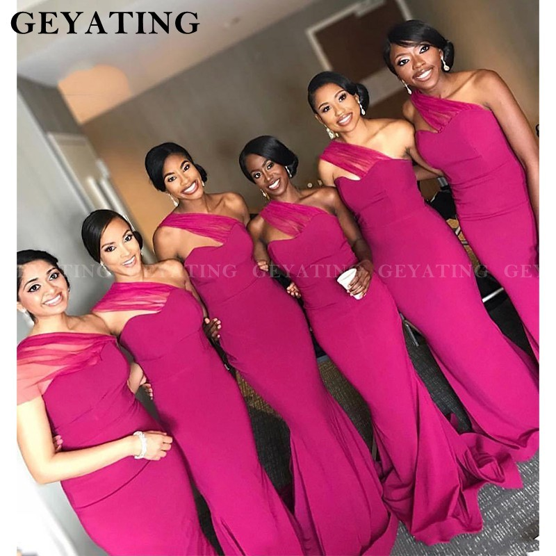 African Fuchsia Satin Mermaid   Bridesmaid     Dresses   For Black Women 2020 Sexy One Shoulder Plus Size Long Maid Of Honor   Dress