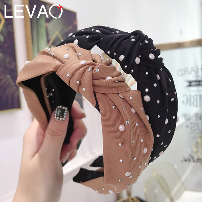 Leveo Pearl Hair Band Bezel Accessories For Women Solid Color Knotted Headband Elegant Rhinestone Hair Hoop Hairband Headdress