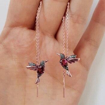 Exquisito y único pendiente de ruiseñor de pájaro largo pendientes de borla de cristal pendiente de la línea del oído pendiente de diseño joyería de las señoras