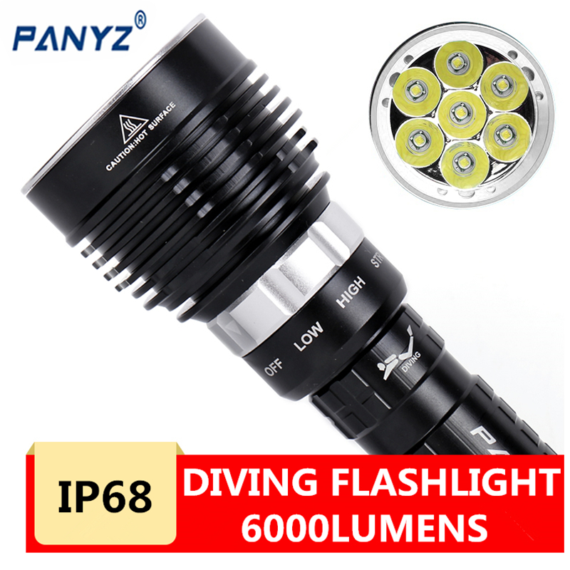 2020 New 7000 Lumen Underwater 20m Torch 7 Led Scuba Diving Flashlight Light For 3x18650 Or 26650 Battery