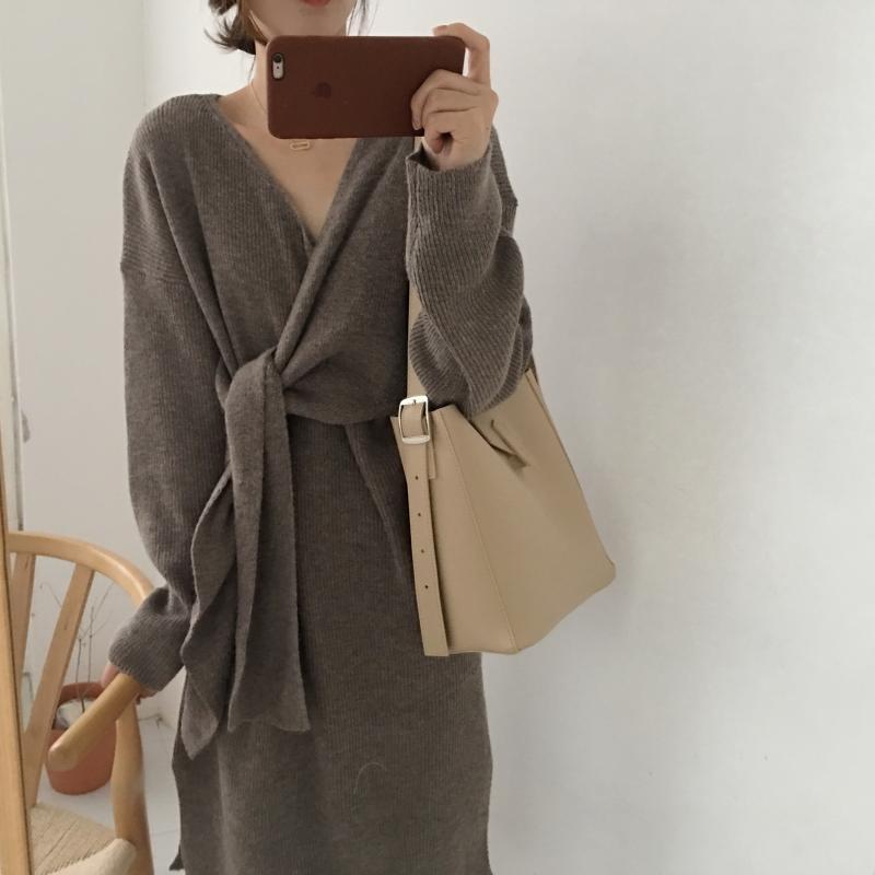 H845d4641bd4842158147bdb54b3b8948k - Winter Korean V-Neck Long Sleeves Knitted Dress