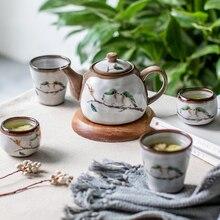 Милый чайный набор в японском стиле с вышивкой птицы, креативный чайник кунг-фу, Набор чашек из толстой керамики под глазурью, цвет WF1024255