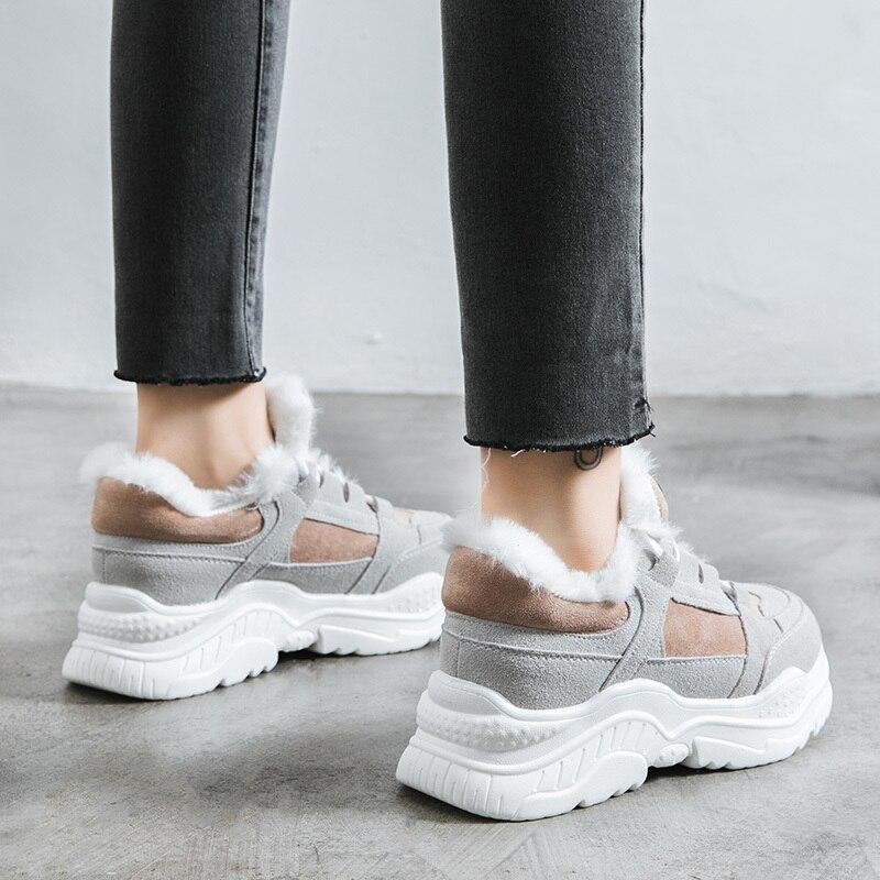 2019 Shoes Winter Warm Platform Woman Snow Boots Plush Female Casual Sneakers Faux Suede Leather Female Snowboots Warm Shoes Fur 72