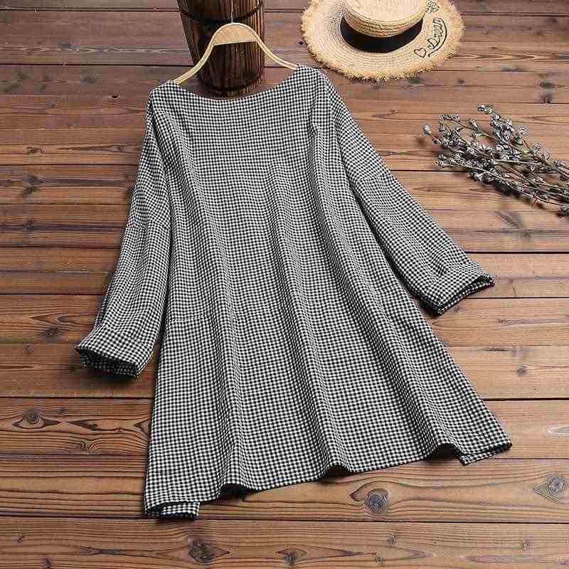 ZANZEA ผู้หญิงผ้าลินินผ้าลินินเสื้อ 2020 VINTAGE หญิงลายสก๊อตเสื้อลำลองยาวแขนเสื้อสูงต่ำแยก Blusas 5XL