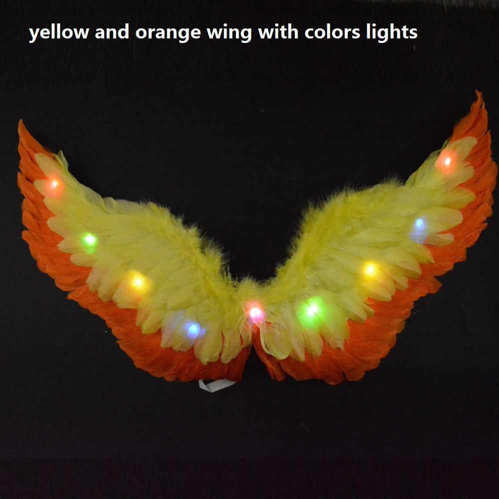 LED Glow işık melek tüy kanat peri kanatları Cosplay sahne düğün parti tiyatro kostüm kadınlar için kız karnaval S M L