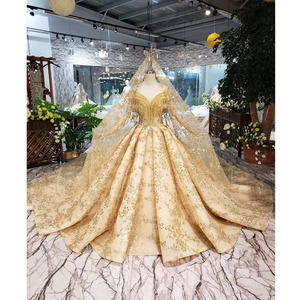 Image 1 - BGW HT42826 الذهبي الدانتيل فستان الزفاف مع طرحة زفاف الخامس الرقبة الكريستال شرابة الأميرة فساتين زفاف لفتاة Vestidos دي نوفيا