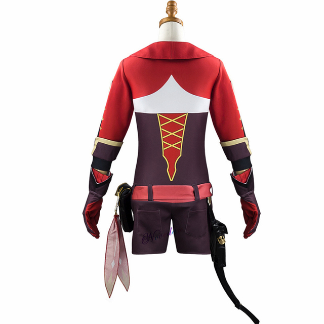 Game Genshin Impact Amber Cosplay Costume Women Girls Red Suit Jumpsuit Halloween Party Costumes Wig Full Set 5