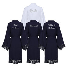 цена на YUXINBRIDAL 2019 New Navy Solid Cotton Kimono Robes with Lace Trim Women Wedding Bridal Bathrobe Sleepwear White Print Bride