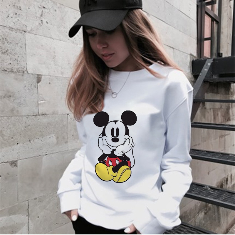 Fashion Cartoon Mouse Printed Casual Harajuku Streetwear Sweatshirts Hoodies Kawaii Korean Women Aesthetic Long Sleeve Shirts