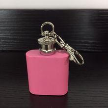 304 розовый маленький винный горшок из нержавеющей стали Портативный мини 1 унций металлическая бутылка для вина 1 унция винный горшок с брелком