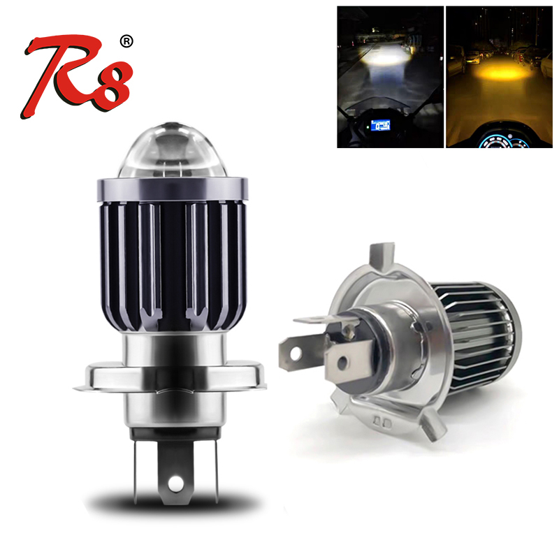 H4 HS1 P43T BA20D S2 Motorcycle Mini LED Projector Headlight Bulbs Fanless Dual Colors White Yellow ATV Scooter E-bikes Headlamp