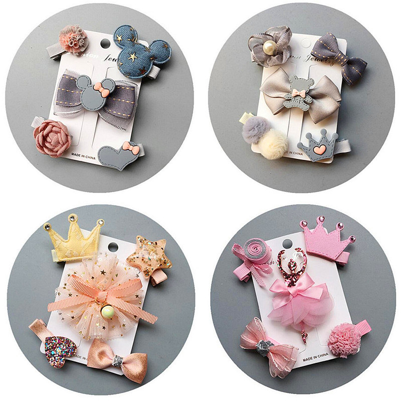 2019 NEW 5/6pcs/set Kids Barrettes Hairpins flower girls hair bows children stars hair clips for girls children hair Accessories