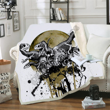 Kid Tyrannosauru Dinosaur Skull Fluffy Cotton Blanket Jurassic Cartoon Boys Girl throw blankets for beds Children Bedding Outlet