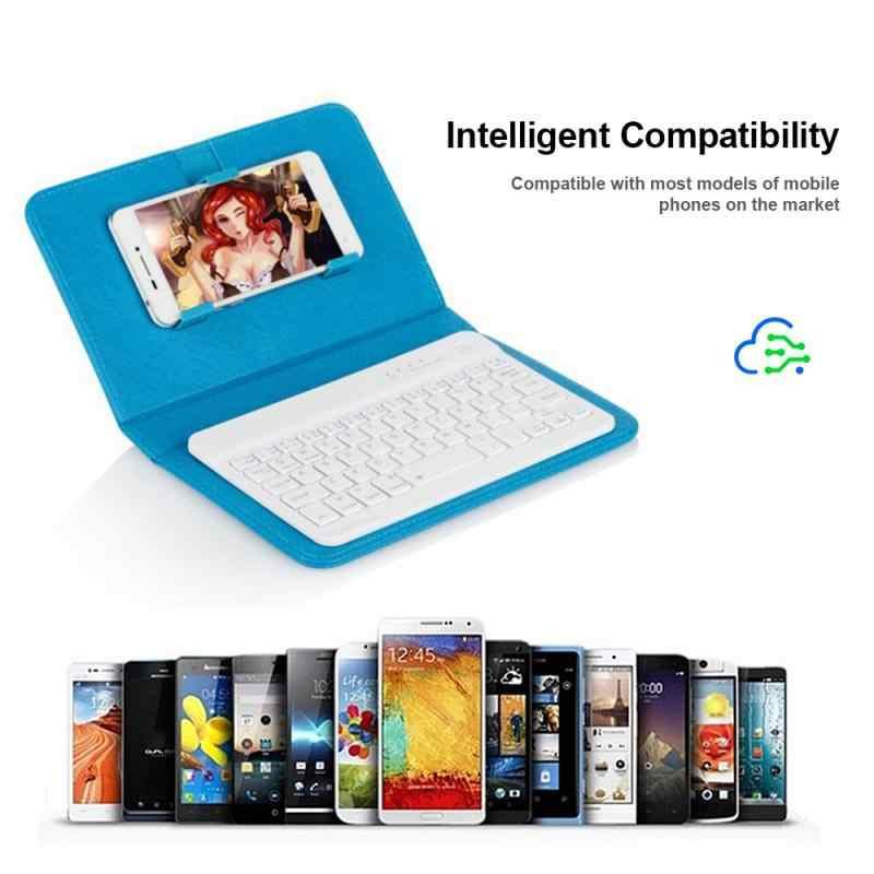 ポータブル pu レザーワイヤレスキーボードケース保護スマートフォンスタンド bluetooth キーボード iphone xiaomi サムスン
