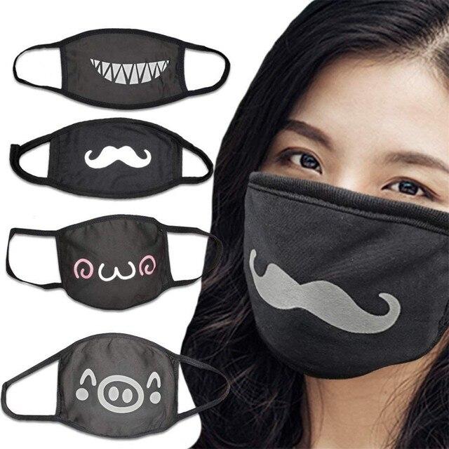 4PCS Korean Cute Anime Anti-dust Mask Cotton Face Mask Cartoon Mask PM2.5 Reusable Washable Fashion Kawaii Muffle Mask Cover