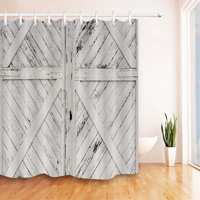 Rideau de douche artistique Retro 72 '| Porte de grange rustique, rideaux de salle de bains en bois Vintage, tissu pour baignoire, décor artistique à la maison