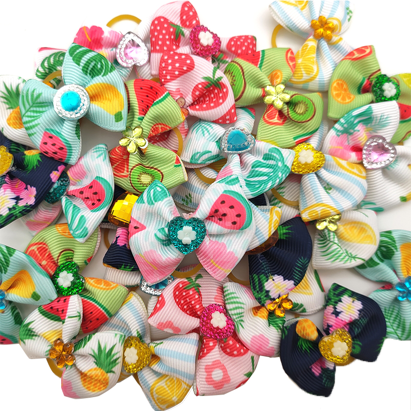 10/20/30 Pcs Small Doggy Pet Hair Bows Accessories Cute Fruit Yorkson Dog Hair Bows Rubber Bands Pet Supplies Dog Accessories