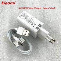 Original Xiaomi Mi 22,5 W de la UE cargador rápido adaptador de corriente 1m 2m 3 m Cable de tipo C para Mi 10 9 9t 8 SE CC9 A3 mezcla Redmi Note 8 K20 pro