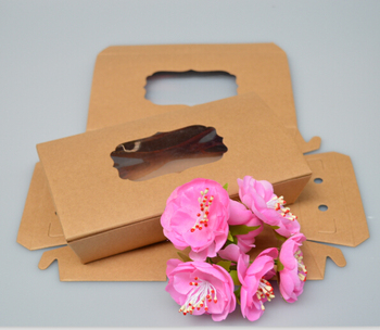 16*9*3.5cm Kraft paper pvc window Cookie dessert Packaging Boxes Packing for Candy Biscuits baking Chocolate Craft paper box