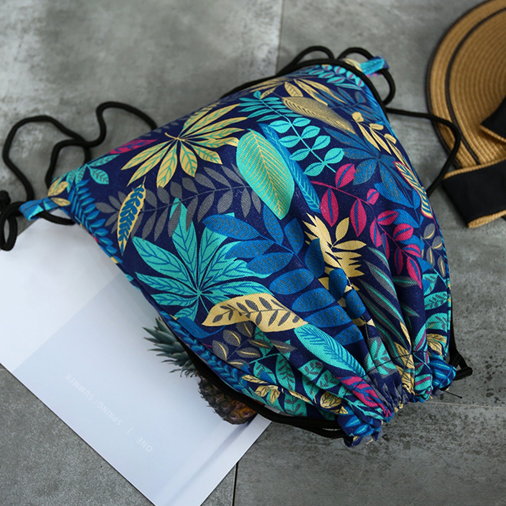 Women Floral Print Canvas Pouch Shopping Shoulder Lightweight Outdoor Drawstring Bag Portable Shoes Organizer Storage Backpack
