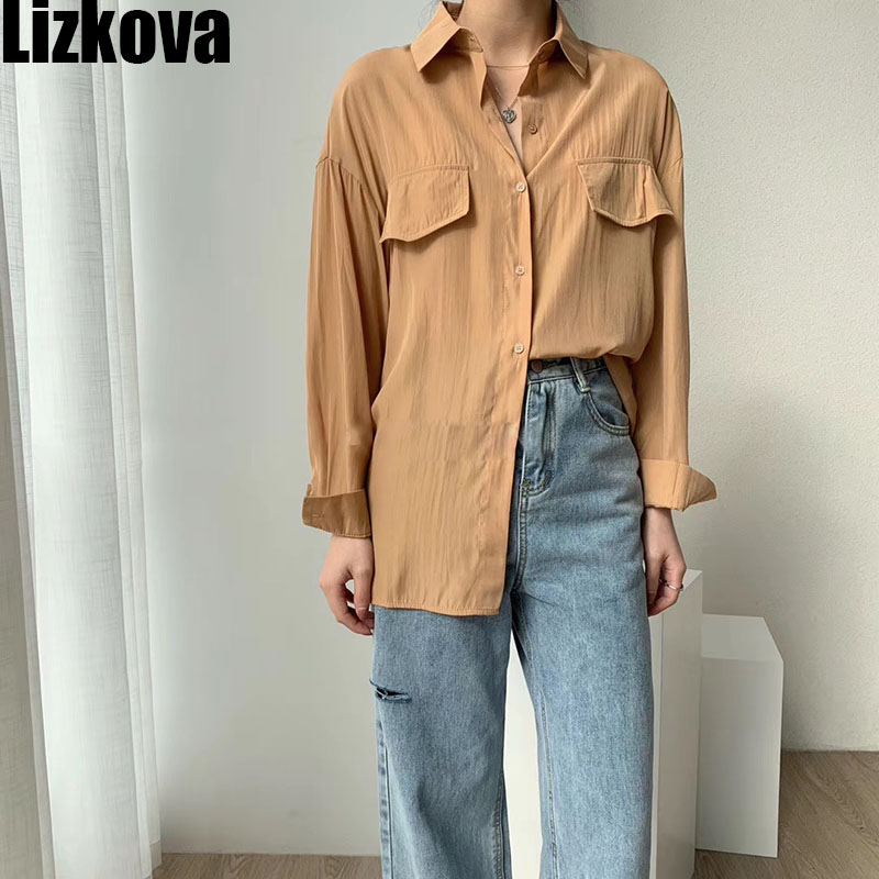 2020 Spring Oversized Blouse Women Elegant Ladies Soft Tops Vintage Casual Tops Fake Pocket Design Streetwear KT8201